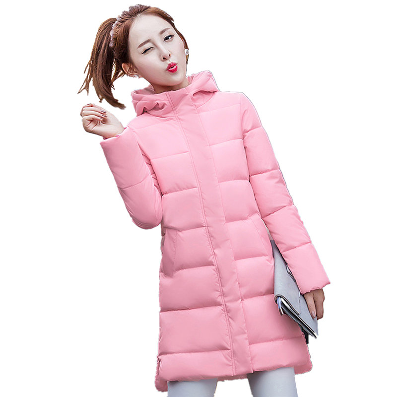 Winter Parkas Solid Color Women Jacket Coat Mid-Long Padded Cotton Warm Hooded Pockets Tide Jacket Manteau Femme Hiver MZ1869 women s thick warm long winter jacket parkas mujer hooded cotton padded coat female manteau femme jassen vrouwen winter mz1954