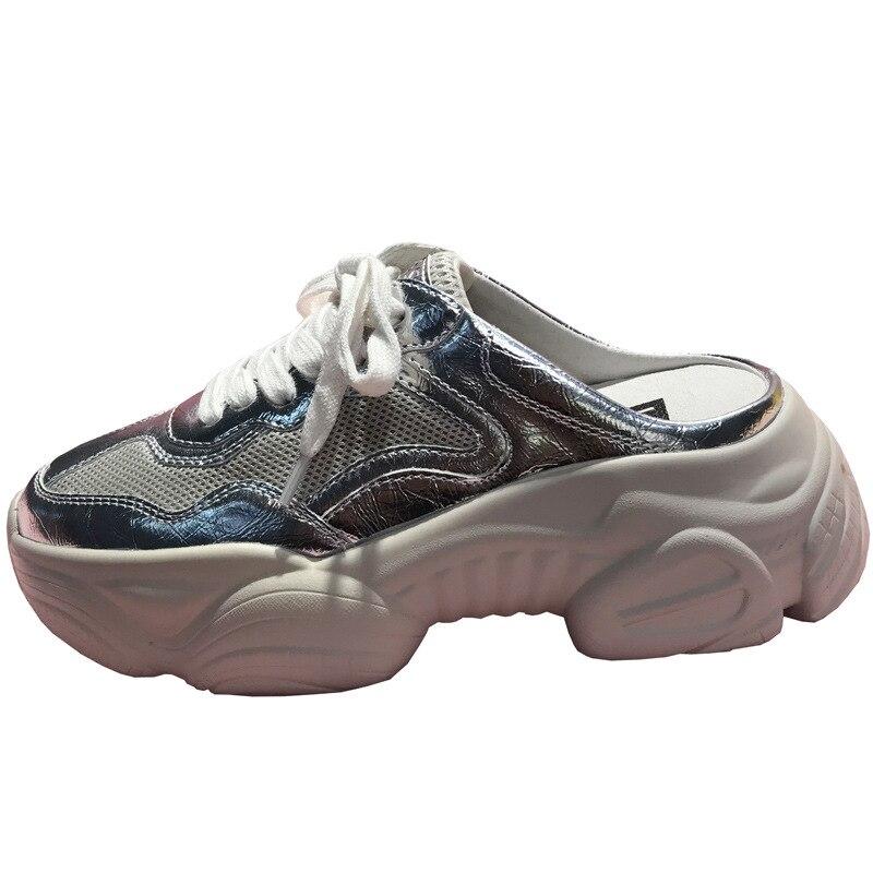 จัดส่งฟรี silver สีชมพูสิทธิบัตรหนังของแท้หนัง lace up ผู้หญิงสาว 5 ซม. แพลตฟอร์มสบายด้านนอก street รองเท้าแตะ-ใน รองเท้าใส่ในบ้าน จาก รองเท้า บน   1
