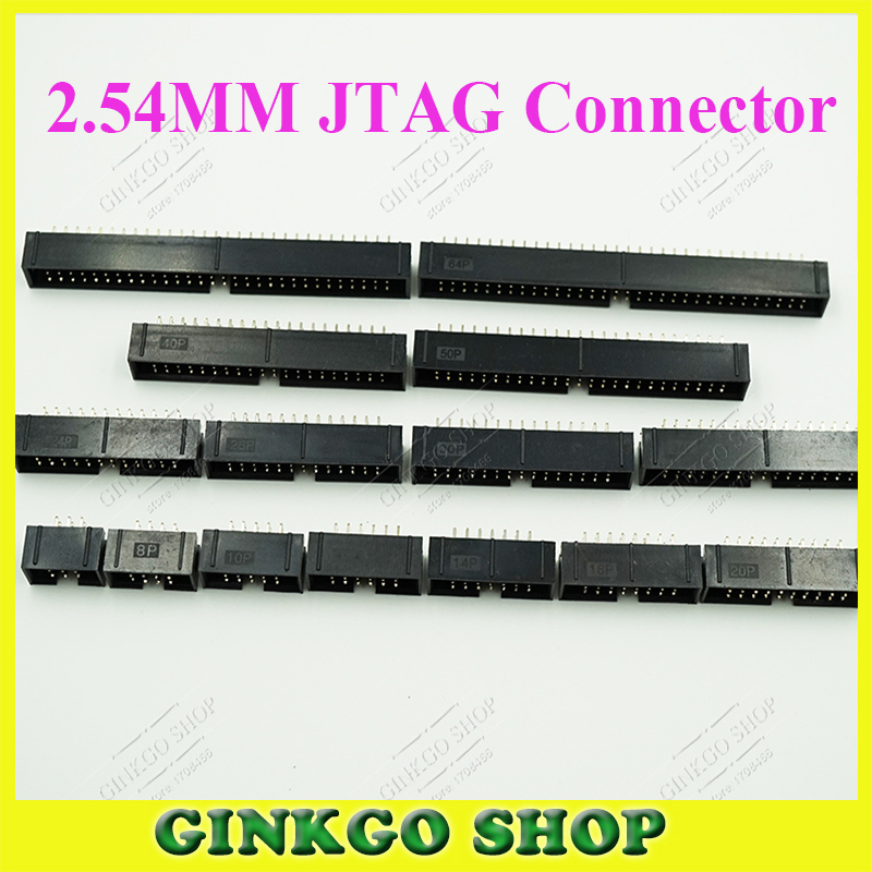2.54mm Pitch 6/8/10/12/14/16/20/24/26/30/34/40/50/60/64 Pin IDC Crimping JTAG cable socket JTAG connector welding plate