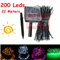 22M 200 LED Solar Lamps LED String Fairy Lights Garlands Holiday Garden Christmas Solar Lights Party Decoration Outdoor WSL0022