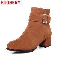 EGONERY Ankle Boots Elegant Clipping Side Zipper Buckle Decoration Convenient Women Grind Arenaceous Round Toe Winter
