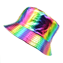 new Solid Rainbow Hat Bright Colors Bucket Hats Double-sided Wearable Basin Cap For Men Womens Visor Fishermans