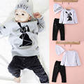 Baby Boy Girl 3PCS Sets Gray and Black T-shirt Pants Hat Costume Outfits Set Pajamas Tracksuit Sleep Sets