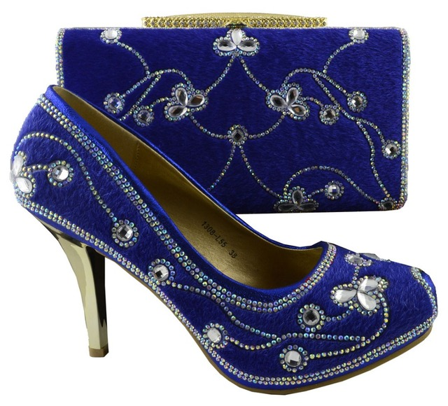52abd6a11 Reais Sapatos Azuis e Saco Para Combinar Italiano Partido Sapatos e Bolsa Conjunto  Decorado com Strass