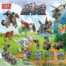 Military Series Super heroes Jurassic World Dinosaur Figures Tyrannosaurs Rex Building Blocks Bricks Helicopter Model Toys