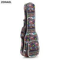 ZONAEL 21 23 24 26 Inch National Style Double Strap Hand Folk Canvas Ukulele Carry Bag
