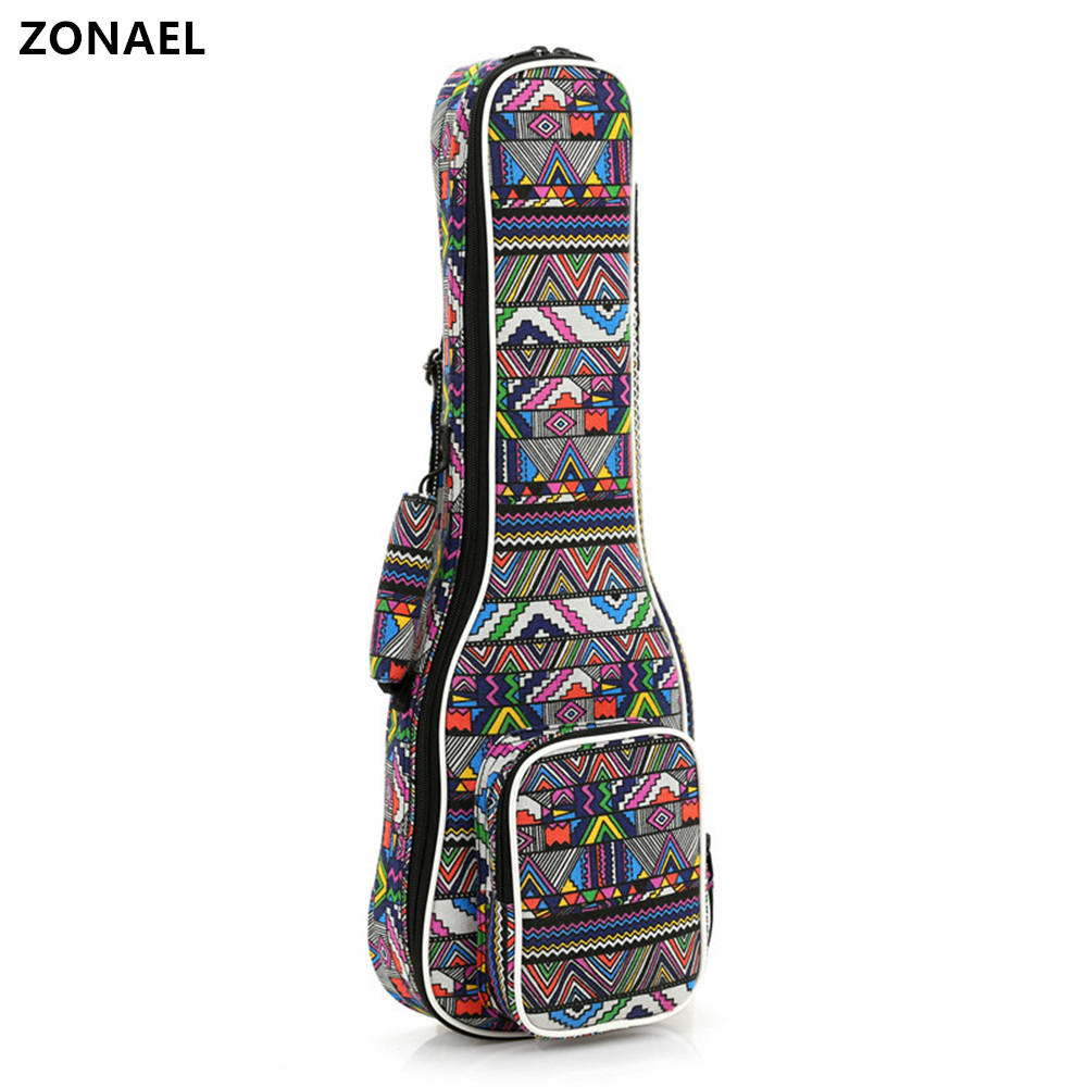 ZONAEL 21 23 24 26 Inch National Style Double Strap Hand Folk Canvas Ukulele Carry Bag Cotton Padded Case For Ukulele Parts purple color carry bag for 7 8 hand held crystal singing bowls with heavy duty canvas carrier