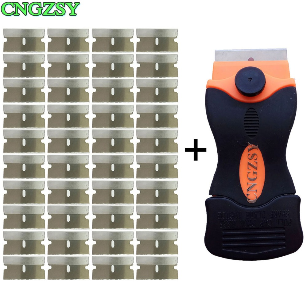купить CNGZSY Cleaning Scraper Old Glue Sticker Spatula Ceramic Glass Oven Paint Cleaner + 40pcs Metal Blades Car Tinting Tools E12+40M по цене 526.3 рублей