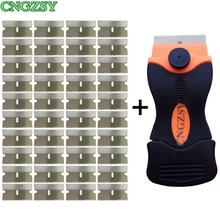 hot deal buy cngzsy cleaning scraper old glue sticker spatula ceramic glass oven paint cleaner + 40pcs metal blades car tinting tools e12+40m