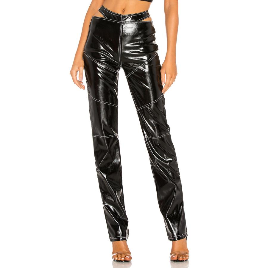 Autumn spring ins popular England waist hollow cut contrast double line stitching leather pants female zipper pu leather pants