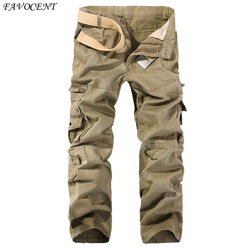 Free shipping Mens Cargo Pants 2017 Men Spring & Autumn New Army Green Big Pockets Male Casual Trousers Easy Wash Pants Size 40
