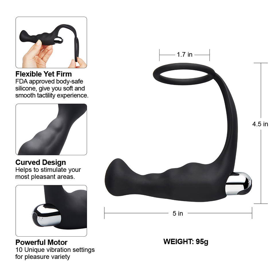 Luvkis Detachable Vibrator Ring Curved Prostate Anal Plug USB Charged Silicone Flexible Butt Plug Sex Toys