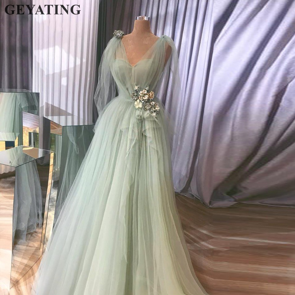 Fairy Mint Green Tulle 3D Flower   Prom     Dresses   2019 Elegant V-neck A-line Long Evening Gowns Plus Size Women Formal Party   Dress