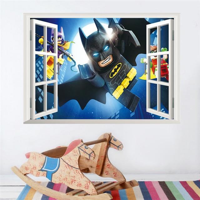 Cartoon Batman Wandaufkleber Fur Kinderzimmer 3d Fenster Wandtattoos