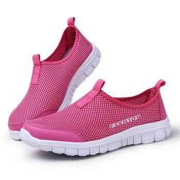 נשים נעליים יומיומיות 2019 נשים סניקרס קיץ אופנה אוויר רשת נעלי נשים להחליק על נקבה סניקרס בתוספת נעליים נשיות גודל
