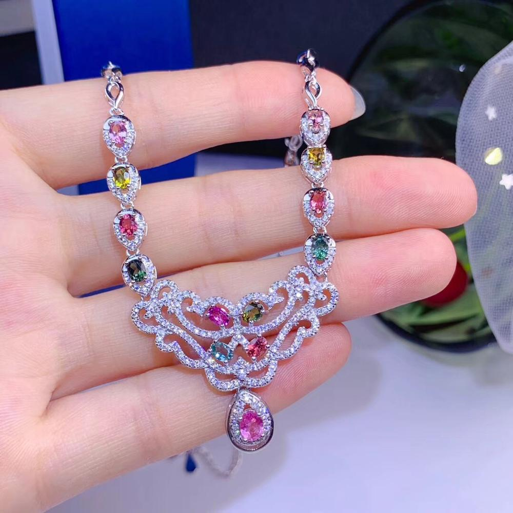 Hongkong designer latest design natural tourmaline necklace, multi color, 925 silver high-end color treasure
