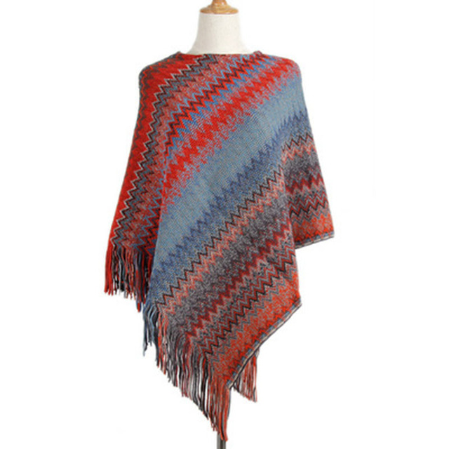 Knitwear Female Irregular Oblique Wave Stripe Tassel Sweater Female Sleeve Loose Casual Cloak Cape Women's Sweater 2
