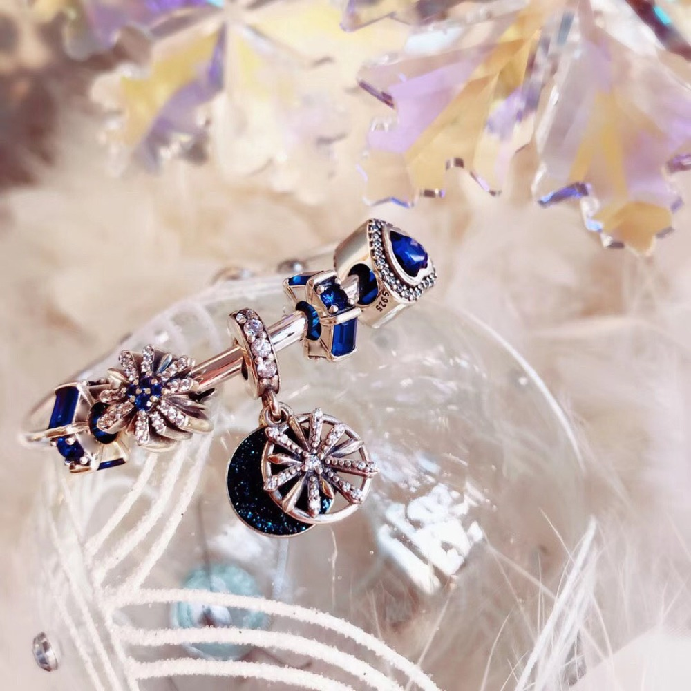 Original 100% 925 Silver Charm High Blue Christmas Snowflake Beads Charm Copy Jewelry For Women 1:1 With Logo Bracelet Original 100% 925 Silver Charm High Blue Christmas Snowflake Beads Charm Copy Jewelry For Women 1:1 With Logo Bracelet