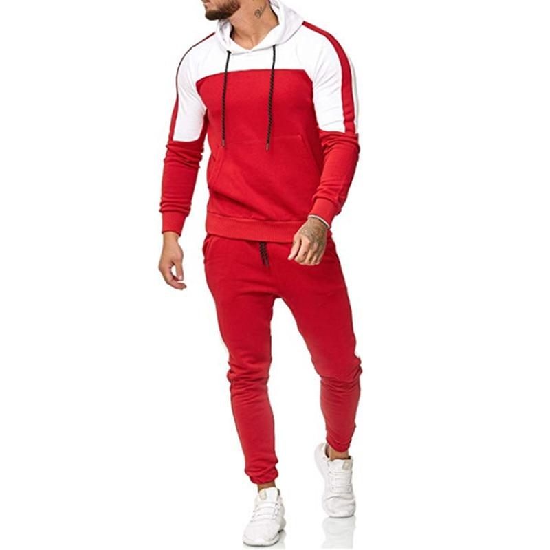 2018 nuevo camuflaje impreso hombres casuales chaqueta hombres chaqueta de 2 piezas chandal ropa deportiva sudaderas-in Мужские комплекты from Мужская одежда