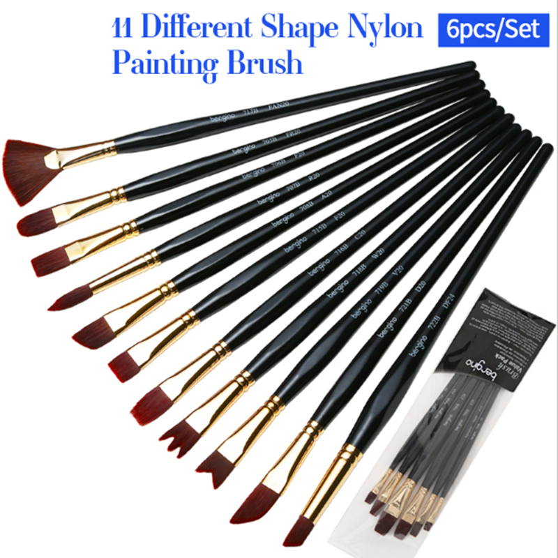 6Pcs High Quality Nylon Hair Painting Brushes Set Oil Painting/Acrylic Paint Brush For Artist Art Stationery