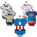 5 pçs/lote boy girl roupa do bebê dos desenhos animados manga curta hero novo romper do bebê recém-nascido verão próxima jumpsuits & rompers do bebê