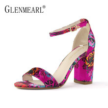 Fashion Women Sandals High Heels Shoes Summer Brand Peep Toe Ankle Strap Woman Sandals Thick Heel Embroider Black Party Shoes DE