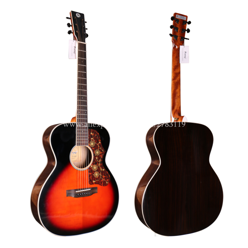 Professional Solid Top Guitar,40 Acoustic Guitar,Solid Spruce Top/Rosewood Body, guitars china With Hard case,OM Body style