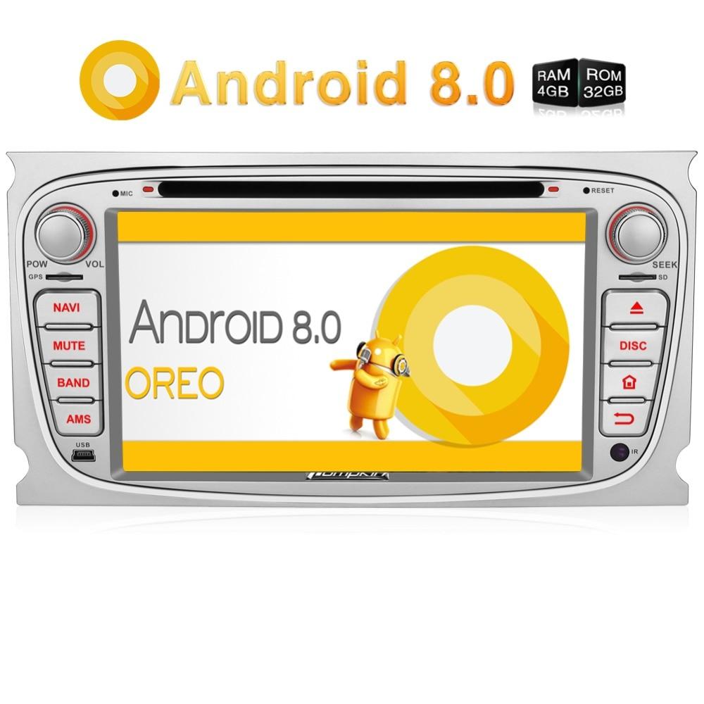 Pumpkin2 Din 7 Android 8.0 lecteur dvd De Voiture navigation gps Qcta-Core 4G RAM Voiture Stéréo Pour Ford Focus /Mondeo Wifi 4G OBD2 Headunit
