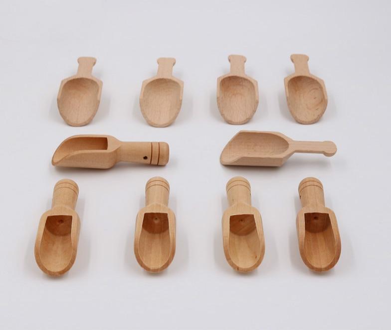 1pcs Mini Wooden Scoops Bath Salt Spoon Candy Flour Spoon Scoops Kitchen Utensils - 2.4x7.8cm