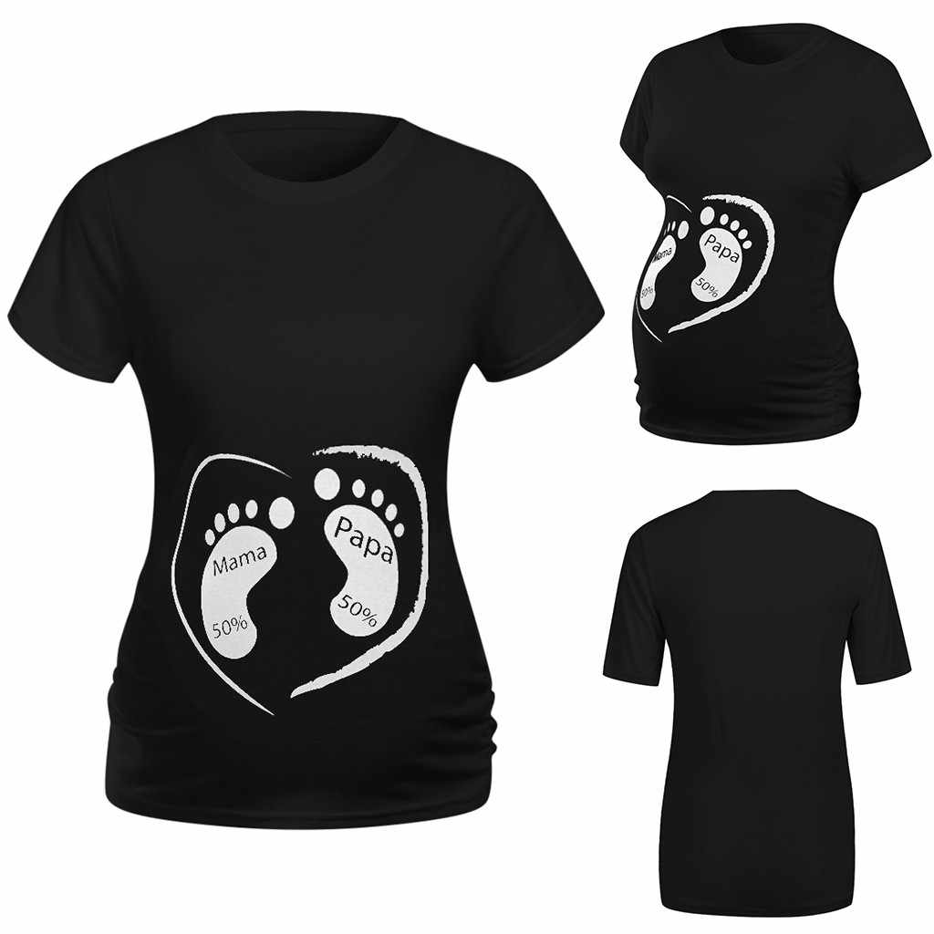 Plus Size O-neck Short Sleeve Maternity Breastfeeding Women Maternity Short Sleeve Cartoon Print Tops T-shirt Pregnancy Clothes