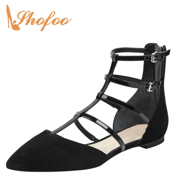 Black Nude Strappy Closed Pointed Toe Flat Woman T-Strap Zipper Buckles Large Size 11 16 For Ladies Summer Footwear Dress Shoes