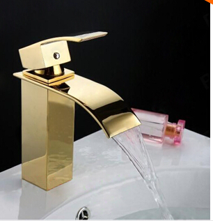 Free Shipping brass material PVD Faucet hot and cold single lever bathroom sink basin faucet waterfall faucet tap mixer square international award design brass single lever bathroom basin faucet bathroom sink faucet bathroom faucet