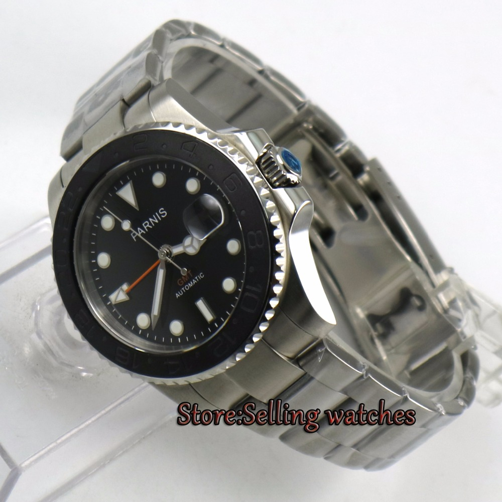 40mm PARNIS Red GMT Sapphire Glass Black dial cerami Bezel Automatic Self Wind movement Men Watch Mechanical watches