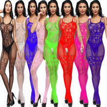 Jacquard strap conjoined sexy net fishnet stockings underwear openwork open file suspenders transparent tight