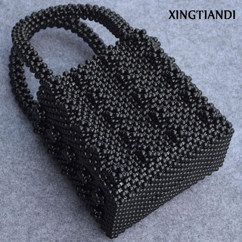 Handmade beaded bags pearl bag Vintage Female handbag evening bag Top-handle Purse contrast mesh pearl beaded detail top