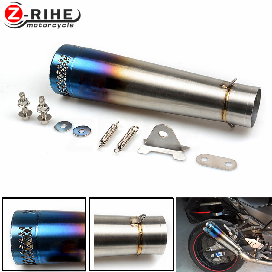 Universal Motorcycle Reupholstery Exhaust Pipe With Laser Label entrance fiber tube For Kawasaki ZX6R ZX10 Z900 Z800R Z750R Z10