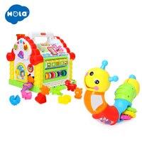 Hola 739 + 786b educação precoce 1 ano de idade brinquedo do bebê multifuncional atividade musical play center casa com música/luz/bloco|Instrumento musical de brinquedo| |  -