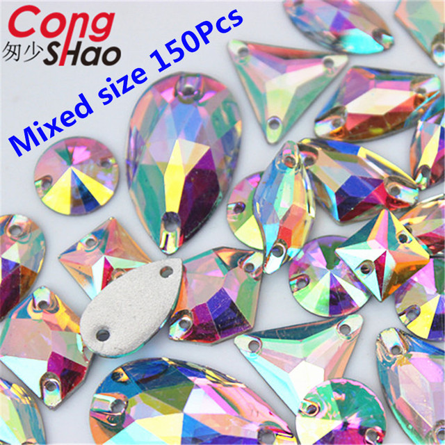 Cong Shao Mix 9 Size Shape Crystals AB Rhinestones trim Flat Back sewing 2  Hole Stones Resin Beads For DIY Wedding Dress YB668 375fc754022a