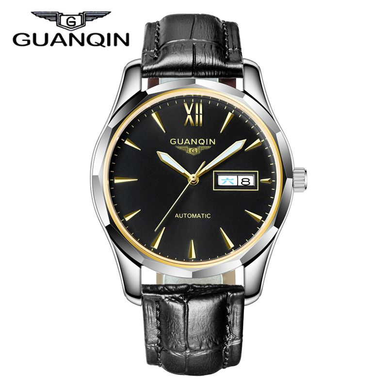 2016 GUANQIN Mens Watches Top Brand Luxury Automatic Self Wind Watches Genuine Leather Mechanical Watch Men