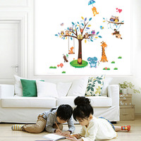 New Arrival Animal Paradise Zoo Wall Sticker Giraffe Monkey Forest Tree Wall Decal Decor For Living