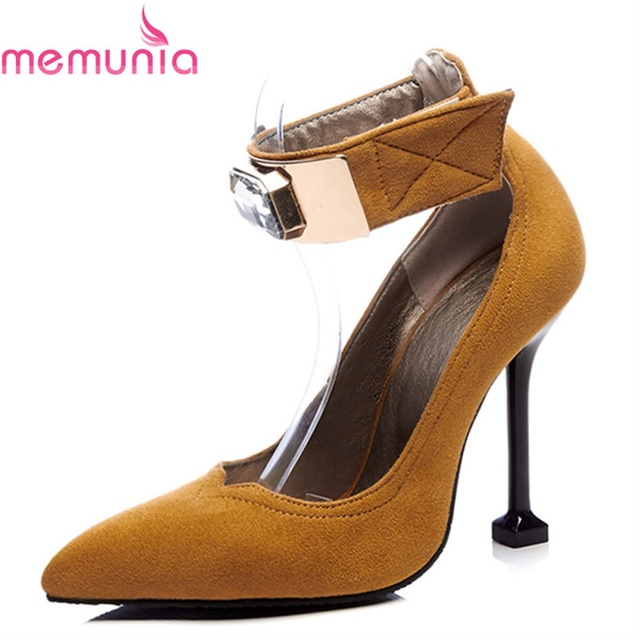 MEMUNIA ladies pumps women shoes high heels elegant sexy unique med heels  pointed toe pu leather simple punk calassic shoes 4c98231e43e7