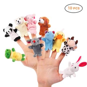 10 sztuk zestaw Cartoon zwierzęca pacynka na palec dziecko pluszowe zabawki dla dzieci piękne dzieci pluszowe zabawki korzystne dla dziecka lalki vingerpoppetjes tanie i dobre opinie LISHEN no eating Puppets Tkaniny 3 lat Boys Girls Finger Puppets Unisex Palec lalek Cartoon Biological Animal Finger Puppet