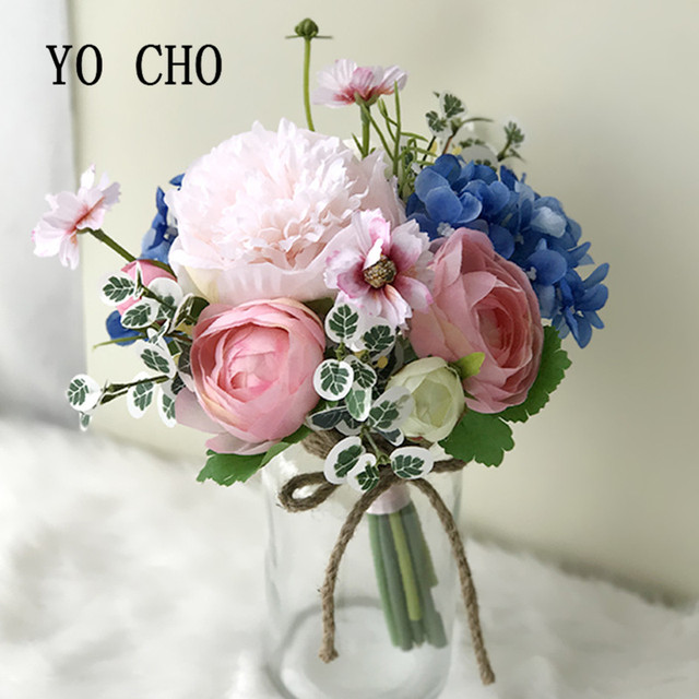Yo Cho Party Bridesmaid Bouquet Rose Greenery Diy Peony Wedding Flowers Bridal Bouquets Hydrangea