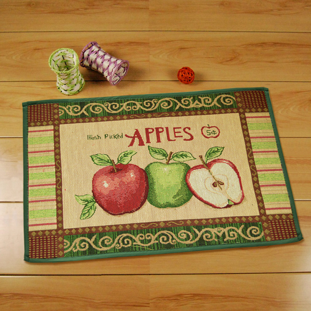 Yazi Country Style Apples Soft Fabric Kitchen Rug Mat Room Floor Entrance Doormat Carpet 45x60cm Home