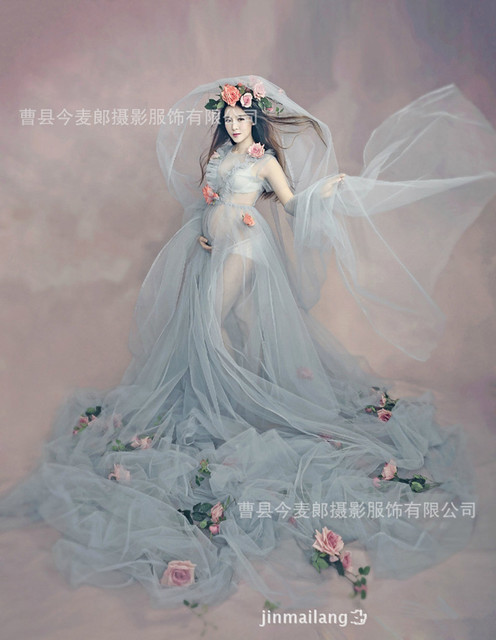2017 New Pregnant Maternity Women Fashion Photography Props Romantic Elegant long Fairy Trailing Dress Photo shoot Shower dress