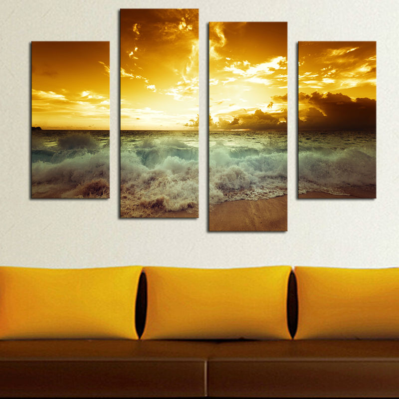 Hot sale 4 panel HD printed canvas print paintingSea wave On Canvas modern home decor Wall Art Picture for livingroom Gift F0632