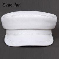 Fashion Real Leather Military Hat spring Sailor Hat For Women Men Black White flat top Female travel cadet hat Captain Cap
