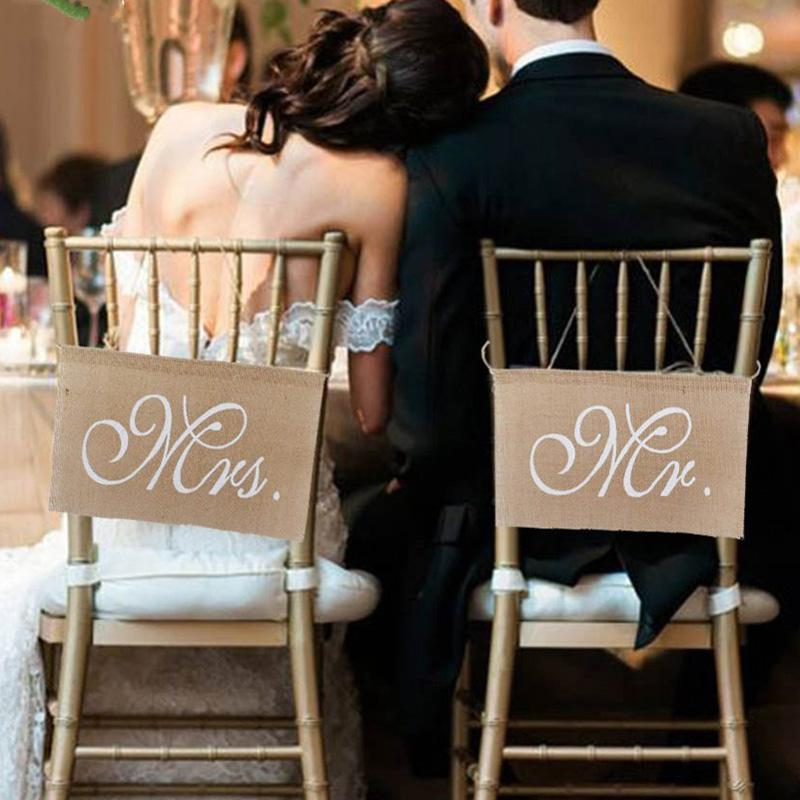 HobbyLane 2pcs/lot Burlap Bows Mr. & Mrs Burlap Chair Banner Set Chair Sign Garland Rustic Wedding Party Decoration