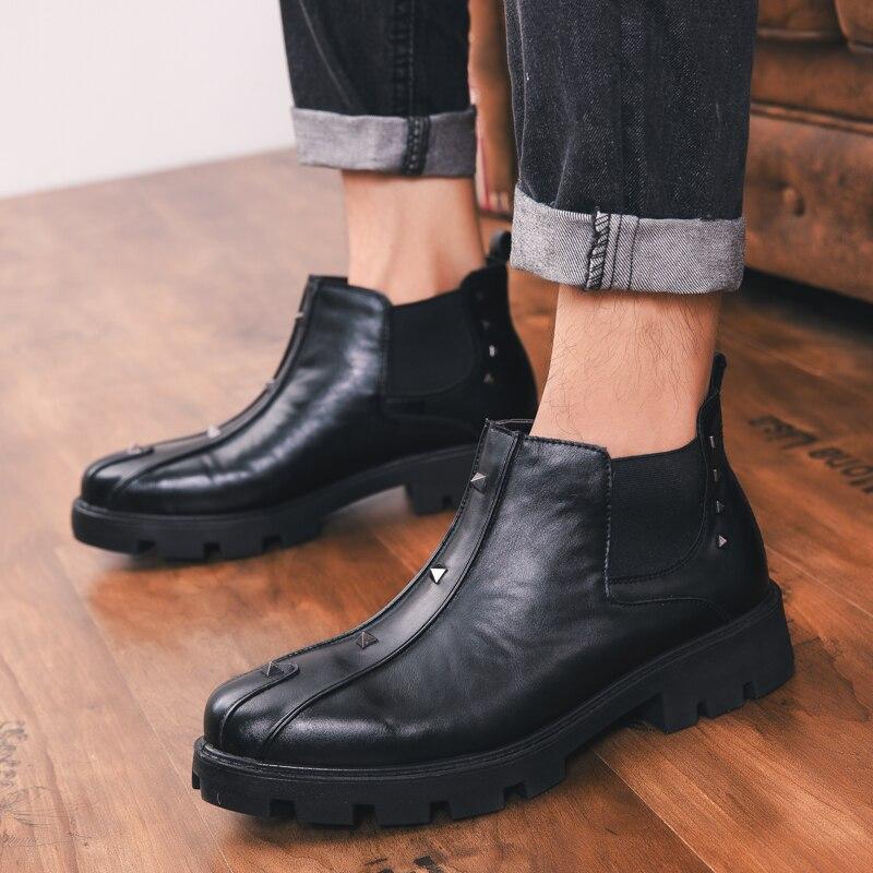 9c0f75f7361ced En Marque Moto ~ Armée Hommes Punk Véritable Rivets 44 Style Noir  Chaussures 38 Bottes Cuir ...