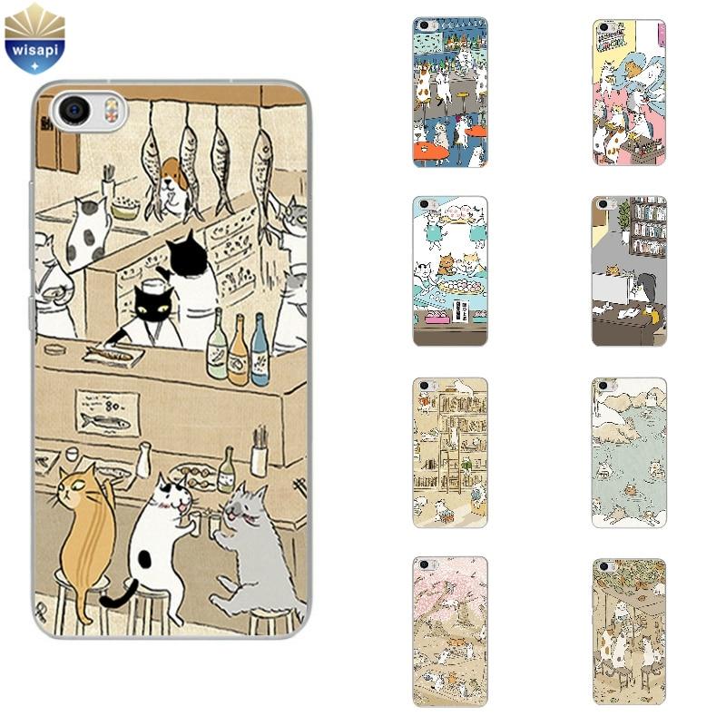 Phone Case For Xiaomi Mi 4 4i 4c 4s 5 Max Note 2 TPU Shell Hongmi Redmi 3 Pro Note 2 3 4 Back Cover Cute Cat Drinking Design